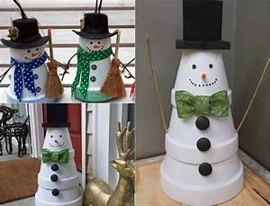 Weihnachtsdeko Draußen Basteln : schneemann figuren aus wei lackierten tont pfen selber machen ~ A.2002-acura-tl-radio.info Haus und Dekorationen