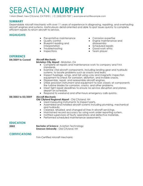 aircraft mechanic resume   professional resume writing service