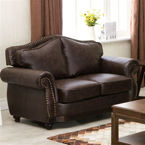 traditional leather loveseat linden traditional brown bonded leather sofa loveseat