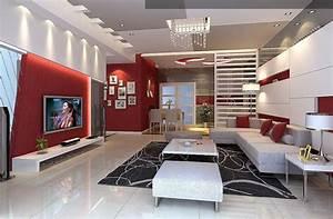 Deco Salon Moderne : salon rouge et blanc design et moderne ~ Teatrodelosmanantiales.com Idées de Décoration