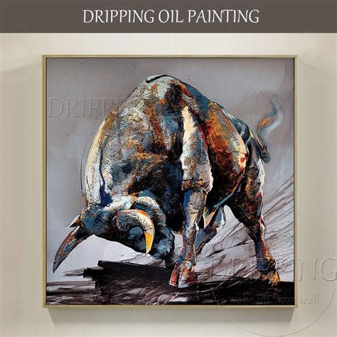 artist hand painted high quality strong bull oil painting