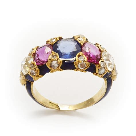 la vieille russie victorian jeweled  enamel ring