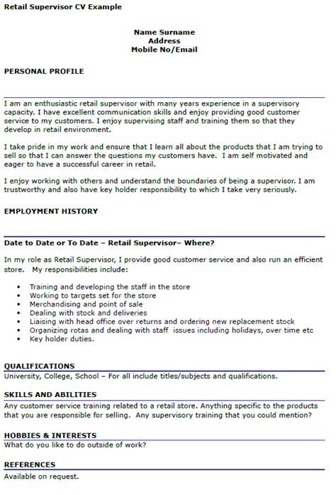retail supervisor cv exle icover org uk