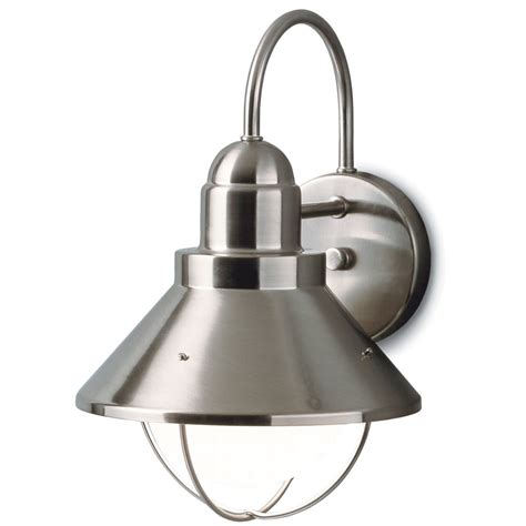 kichler outdoor nautical wall light in brushed nickel
