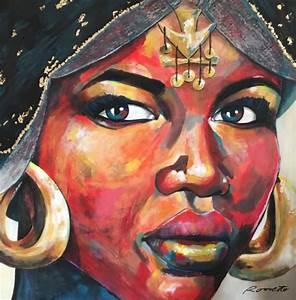Peinture Visage Femme : visage aux bijoux acrylique sur toile 1m x 1m peinture portrait femme africaine peintures ~ Melissatoandfro.com Idées de Décoration