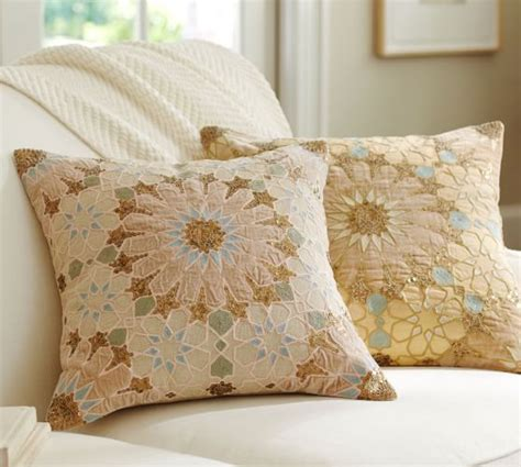 pottery barn large decorative pillows sofia tile sequined embroidered pillow cover pottery barn