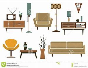 Retro Flat Furniture And Interior Icons Stock Vector ...