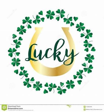 Lucky Horseshoe Shamrock Frame Circle Gold Clipart