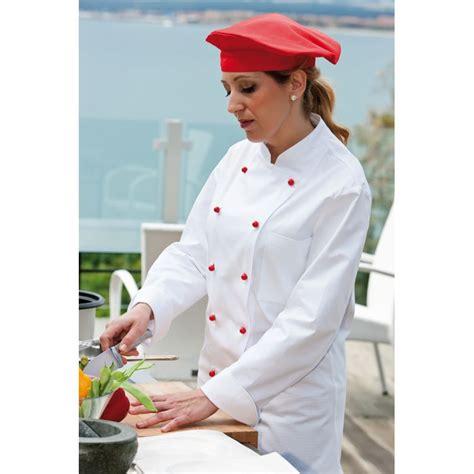 cuisine de femme veste de cuisine femme col officier poche poitrine 100 coton