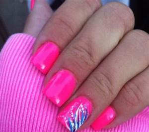 Hot pink gel nail design girly