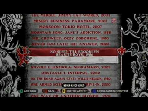 Since the game's release on october 20, the top song was chop suey by system of a down. Guitar Hero: World Tour Song List (HD) - YouTube
