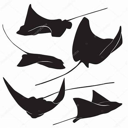 Stingray Silhouette Vector Illustration Simple Fish Tattoo