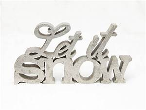 Vintage christmas decor let it snow silver glitter for Let it snow wooden letters