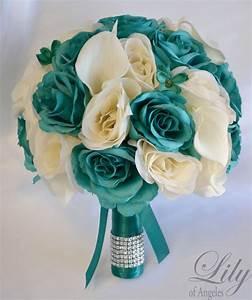 17 Piece Package Silk Flower Wedding Bridal Bouquets Bride