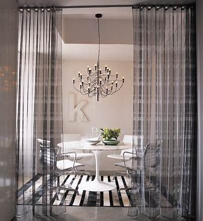 Drapes Between Living Curtain Hung Dining Track