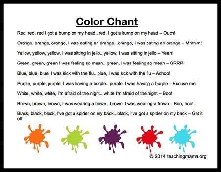 songs rhymes finger plays colors 637   color chant