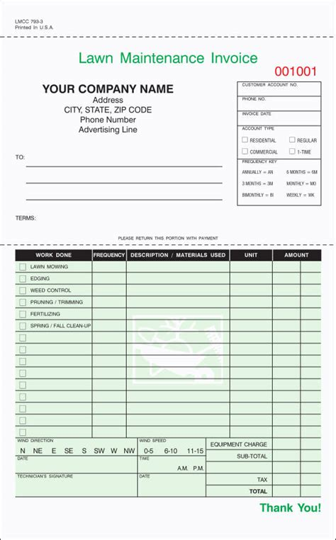lawn care invoice samples templates