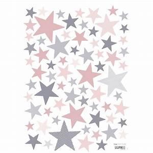 Papier Peint Rose Et Gris : stickers etoile rose et gris de lilipinso ~ Dailycaller-alerts.com Idées de Décoration
