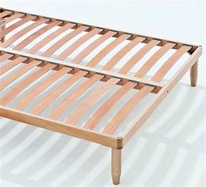 Sommier En Bois : sommier lattes en bois avec structure en bois orange ~ Teatrodelosmanantiales.com Idées de Décoration