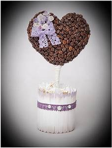 DIY birthday gift idea for coffee lovers- Heart topiary