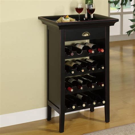 floor wine rack shop powell 16 bottle black freestanding floor wine rack