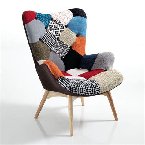 sedie e poltrone design poltroncina patchwork in tessuto e gambe in massello colormix