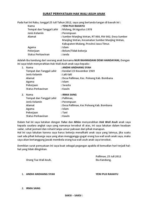 surat pernyataan hak wali asuh anak