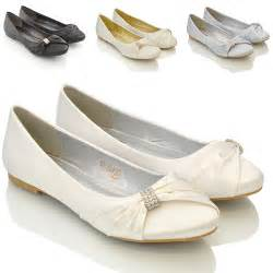 wedding flat shoes womens bridal wedding satin pumps slip on prom bridesmaid pumps shoes 3 8 ebay