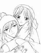 Coloring Couple Anime Couples Romantic Hugging Kissing Printable Sheet Getcolorings Template Sketch Templates Half Getdrawings Sky sketch template