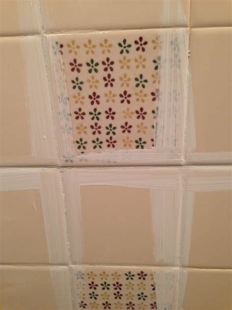 Remodelaholic  A $170 Bathroom Makeover With Painted Tile