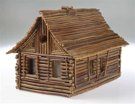 folk art twig log cabin home image  twig crafts twig furniture bird house kits