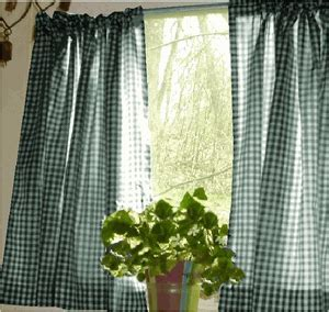 Hunter Green and White Cafe Curtains Gingham Check