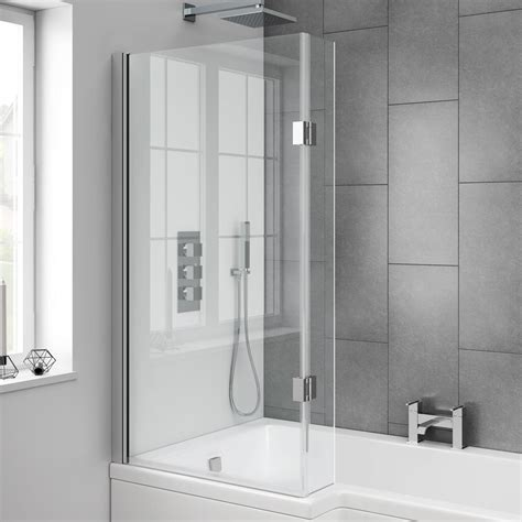 Bath Shower Glass by Milan Hinged L Shaped Bath Screen Now At