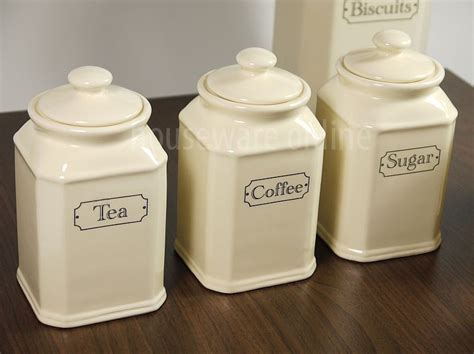 coffee kitchen canisters pc traditional ivory ceramic tea coffee sugar jar