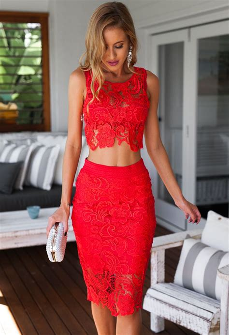 Red Two Piece Cropped Lace Set Xenia Boutique Ustrendy