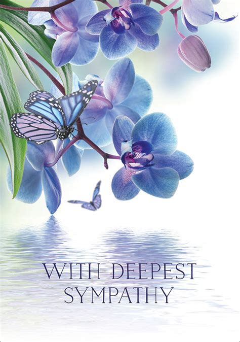 ling design  orchids  butterfly sympathy card lnq