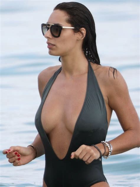 Italian model Raffaella Modugno in a sexy one piece ...