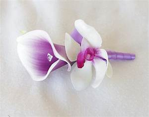 Silk Purple Heart Calla Lily and Orchid Wedding Boutonniere Or