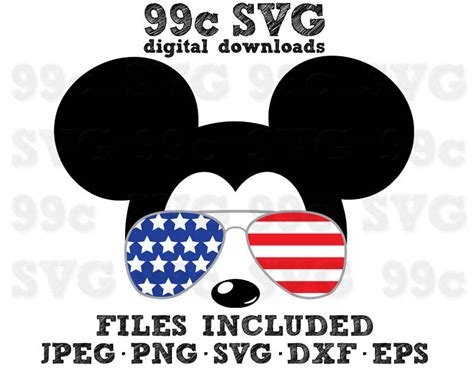 Svg, jpg, png, pdf files included. Mickey USA Flag Sunglasses SVG DXF Png Vector Cut File ...