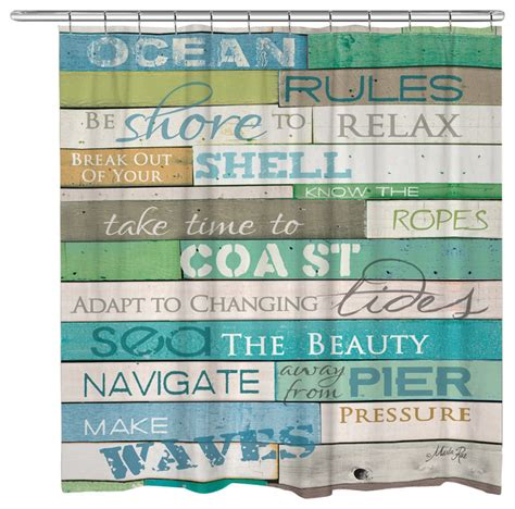 Ocean Rules Shower Curtain   Beach Style   Shower Curtains   by Laural Home