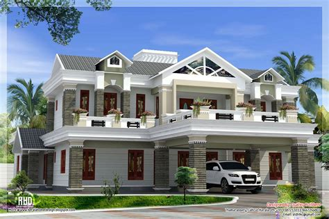 sloping roof mix luxury home design   kerala house design kerala houses luxury house plans