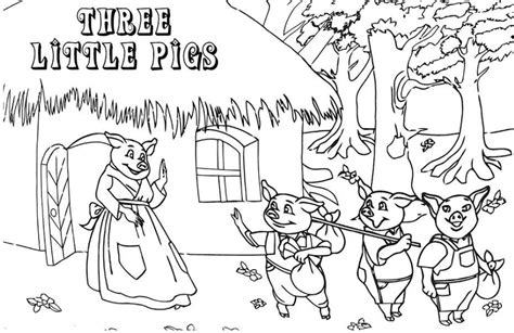 Three Little Pigs Coloring Pages Free Exeranmat Coloring