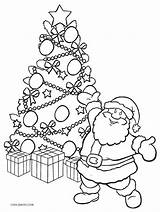 Coloring Tree Santa Printable sketch template