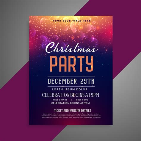 merry christmas sparkles party poster flyer design