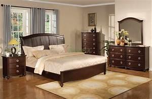 Platform, Bedroom, Furniture, Set, With, Leather, Headboard, 133