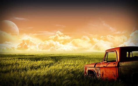 Car, Grass, Landscape, Clouds, Moon, Sky, Green, Fantasy