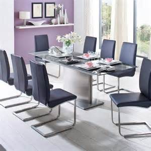 esszimmer glastisch 180 220cm esstisch edelstahl glastisch grau esszimmer tisch küchentisch küche ebay
