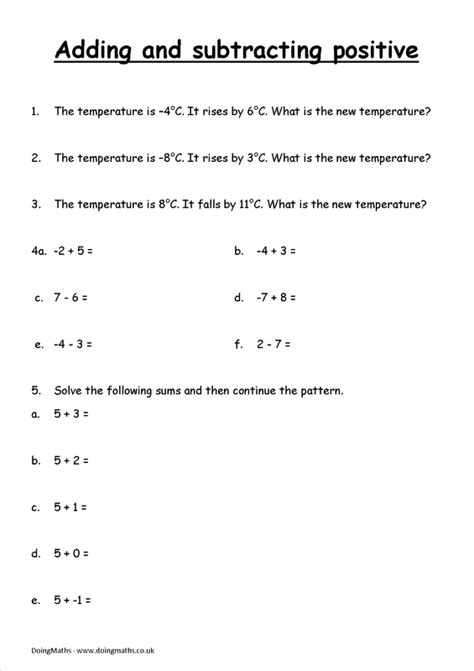 subtracting positive and negative numbers worksheets