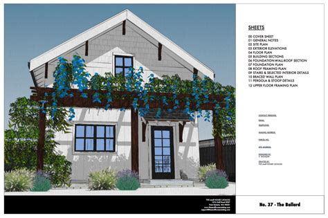 no 37 the ballard 800 sq ft 2 story cottage plan