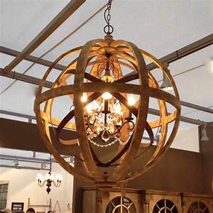 Wooden orb chandelier metal detail and crystal by